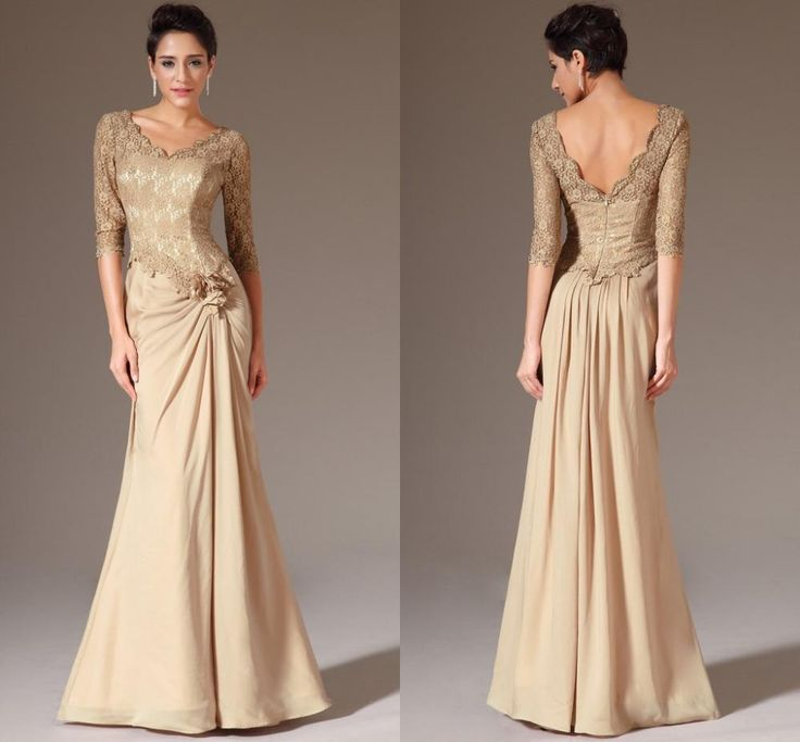 Gold mother Of The Bride Dress,Lace Long Mother dresses,Half Sleeves Mother Of The Groom Gowns