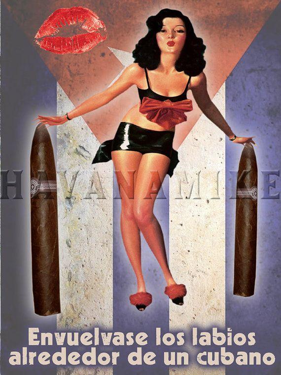 HABANA KISS Cuban Cigar Box Pinup Poster Print