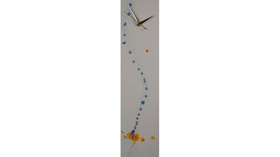 Neutral Wall Decor Orange and Blue Wall Art Abstract Unique Handmade Decorative Wall Clock Modern Contemporary Glass Individual by ReformationsGlassArt Handmade Glass Clocks - by Craig Anthony. http://ift.tt/15oC6FM . Find it now at http://ift.tt/2sngZBJ!