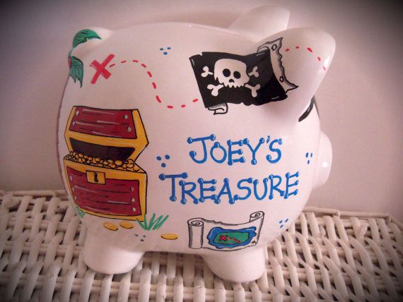 Personalized Hand Painted Piggy Bank With por thepaintedpiggy