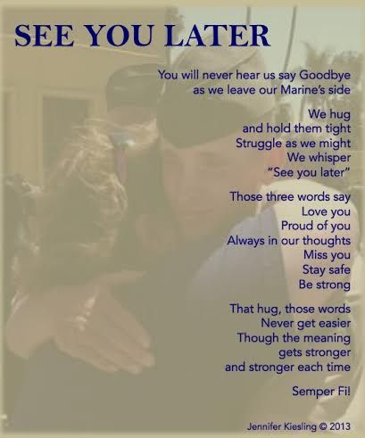 MoM journey is hard to describe but one of the greatest things is that I have met some awesome MoM's. With their encouragement I have kept writing and sharing. One very special MoM created this. She took a pic of my son and I with our first hug after bootcamp and added the poem. I hope she truly knows that she has played a huge part in my dreams of sharing my simple words. Thank you Laurie!!