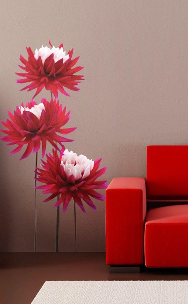 Realistyczne kwiaty na pięknej kolorowej naklejce na ścianę 3D - dostępne także inne rodzaje roślin