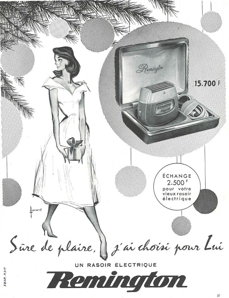 Sûre de lui plaire, j'ai choisi pour lui un rasoir électrique Remington - Réalités n°143, décembre 1957.