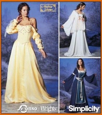 SEWING PATTERN Simplicity 5843 Misses MEDIEVAL RENAISSANCE GOWNS COSTUMES 12-20
