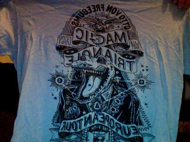 otto von schirach magic triangle tour t-shirt (size m) with backprint of tour dates .. slightly faded