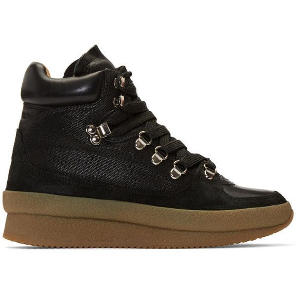 Isabel Marant Black Brent Hiking Boots (42.840 RUB) ❤ liked on Polyvore featuring shoes, boots, hiking boots, laced up boots, lace up boots, lacing boots and black hiking boots
