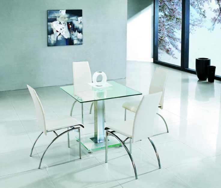 stylish square glass dining table available in transparent and black