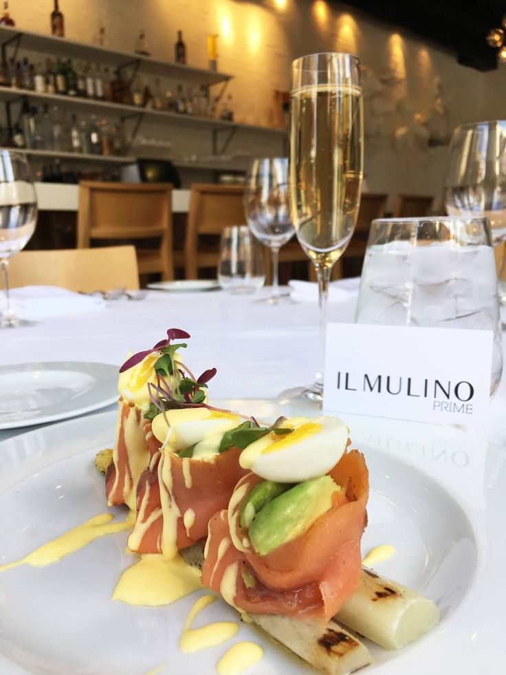 smoked salmon with grilled white asparagus, avocado, quail egg and hollandaise sauce.