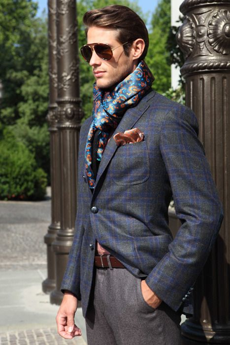 Scarf and Plaid | style man fashion class couture men clothes haute