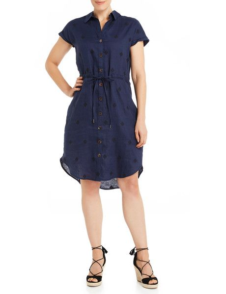 ad34a19567 Jigsaw Embroidered Linen Shirt Dress. Navy product photo