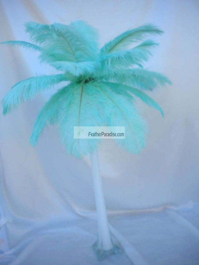 mint green orchid feather centerpieces   Feather Plume Palm Tree Tiffany Blue Aqua Ostrich Feather Centerpieces ...
