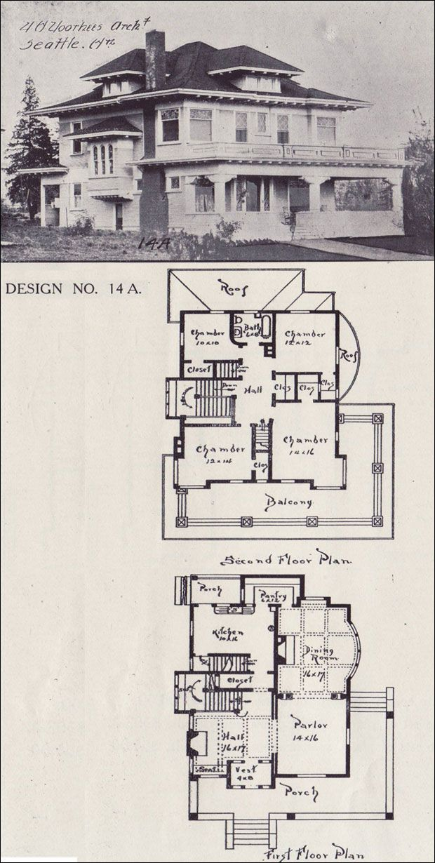 1908 House Plan   Classical Revival Foursquare   Western Home Builder    Design No. 14A