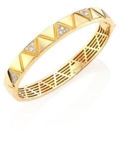 Triangoli Diamond Pavé & 18K Yellow Gold Bangle Bracelet