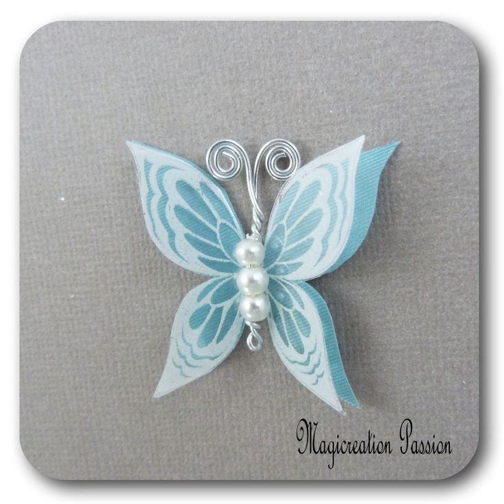 papillon 3.5 cm double ailes soie turquoise transparent blanc - Ysatis : Décoration d'intérieur par les-tiroirs-de-magicreation-passion