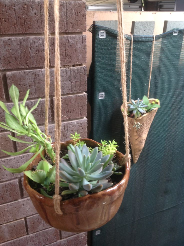 #handmade pottery #hanging planters #succulents