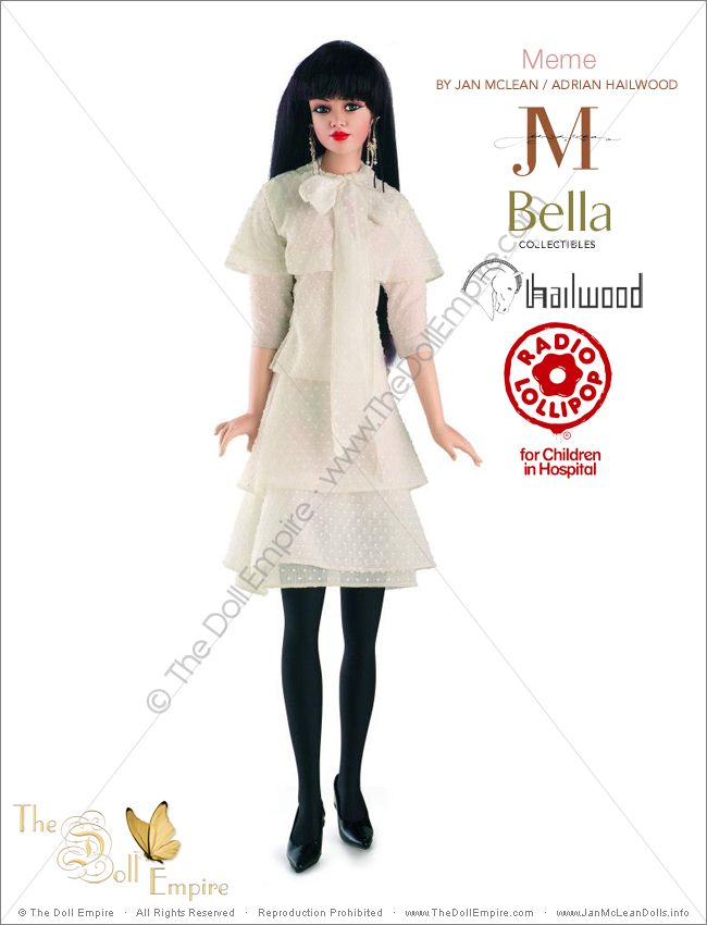 Meme by Jan McLean Doll Artist and Adrian Hailwood Fashion Designer - Bella Collectibles - New Zealand Radio Lollipop Charity Auction