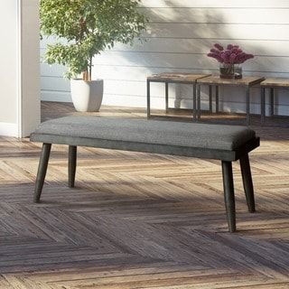 Furniture of America Bradensbrook Mid-Century Modern Style Grey Upholstered Dining Bench | Overstock.com Shopping - The Best Deals on Dining Chairs