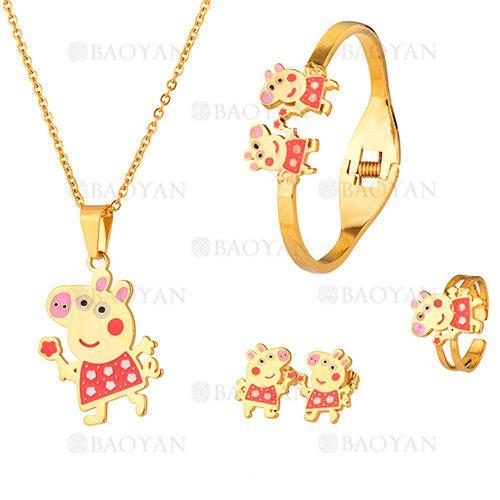 juego collar ,pulsera ,anillo y aretes de peppa pig en acero dorado inoxidable para ninas-SSNEG053095