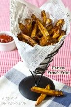 Harissa Baked French Fries | ASpicyPerspective.com #fries #frenchfries #spicy