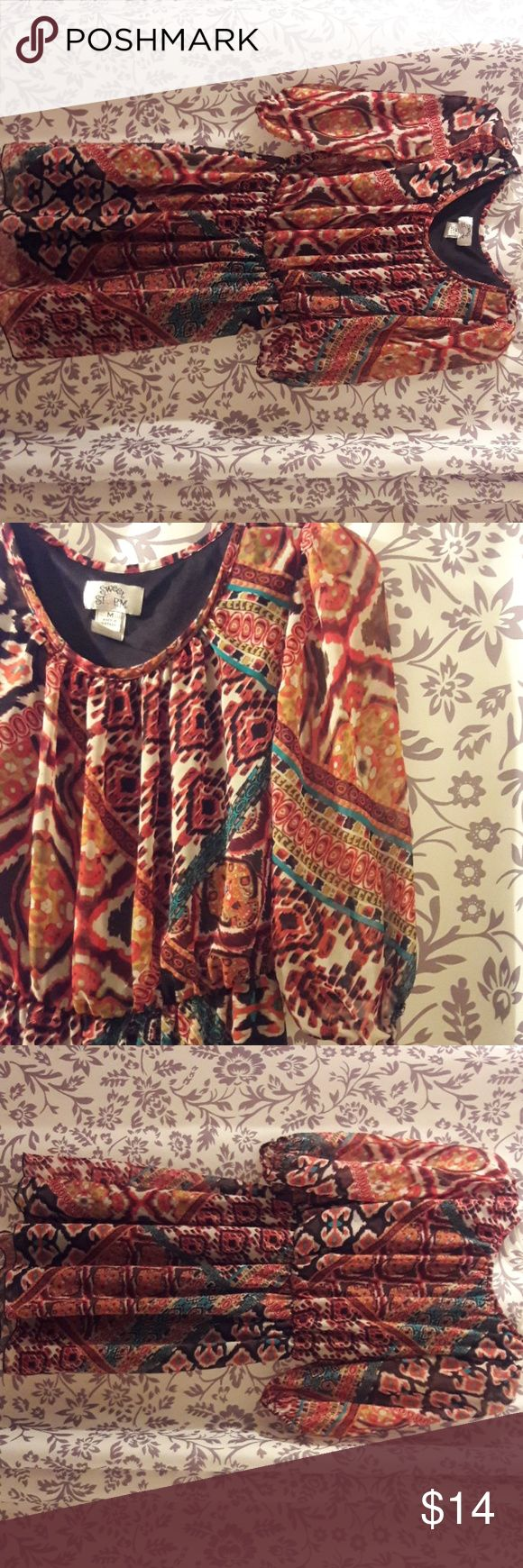 """Medium Sweet Storm multi color mini Dress Medium 100% Polyester shell and lining Excellent condition 3/4"""" Sleeve Clinched waistline Sweet Storm Dresses Mini"""