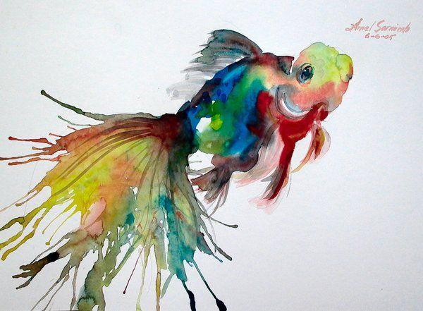Goldfish fishy fishy pinterest watercolors fish and for Watercolor fish painting