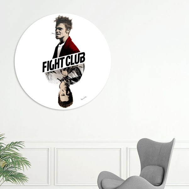 Discover «Fight Club», Exclusive Edition Disk Print by Paola Morpheus: dissociation; poverty; male archetypes; lots of things there's no clinical language for. #fightclub #t-shirts #tylerdurden #bradpitt #edwardnorton #mmafight #mma #fighter #blood #psycopaty #dissociation #paolamorpheus #design #gift #2017 #youandme #tfw #squad #trendy #trends #antisocialsocialclub #supremenewyork #streetwear #highsnobiety #like4like #gopro
