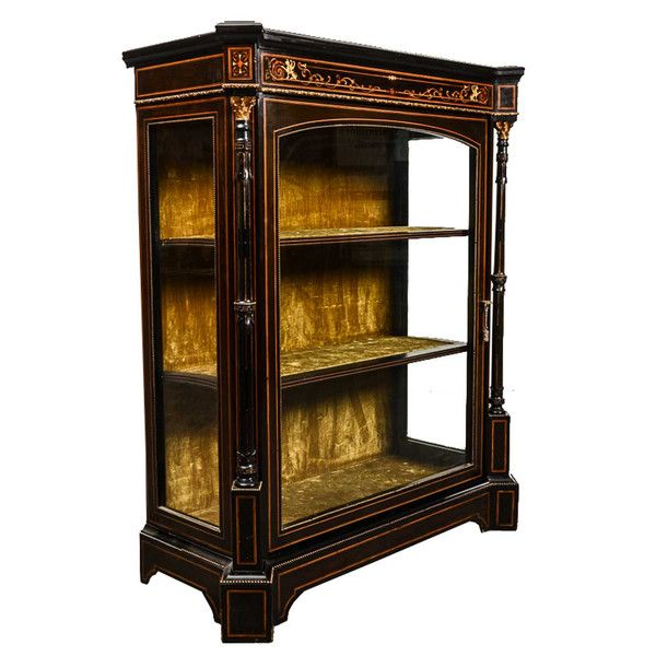 French Glass Kitchen Cabinet Doors: French Louis XVI Style Glass Door Brass Mounted Display