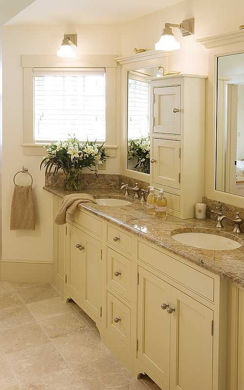 """Crown Point; """"Another view of these bathroom cabinets showing a wider view of the vanity area. Maple hardwood finished with our Cameo Classic Paint."""""""