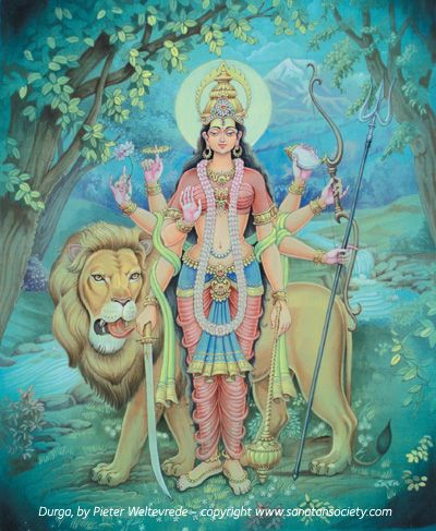 Durga is an incarnation of Devi or the Mother Goddess, a unified symbol of all divine forces.