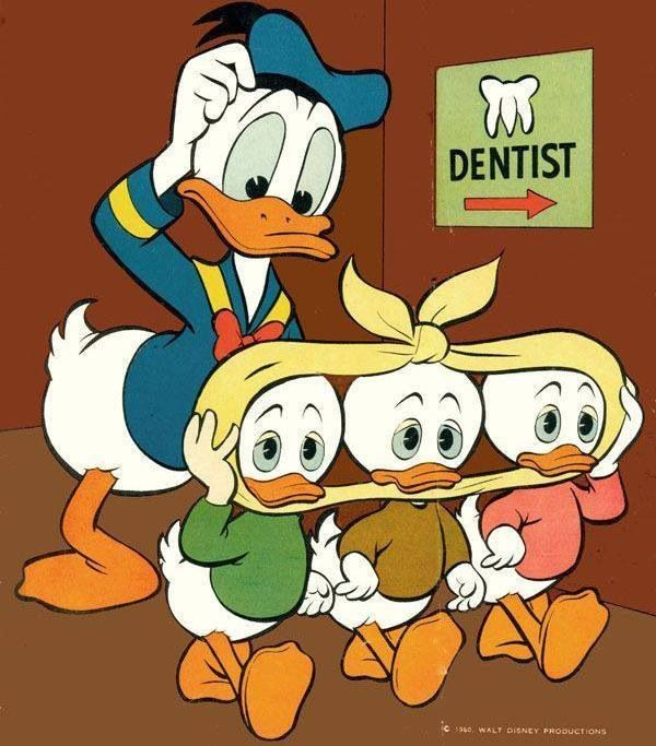 Daffy Duck takes his boys to the dentist for a toothache :) #funny #dentalhumor