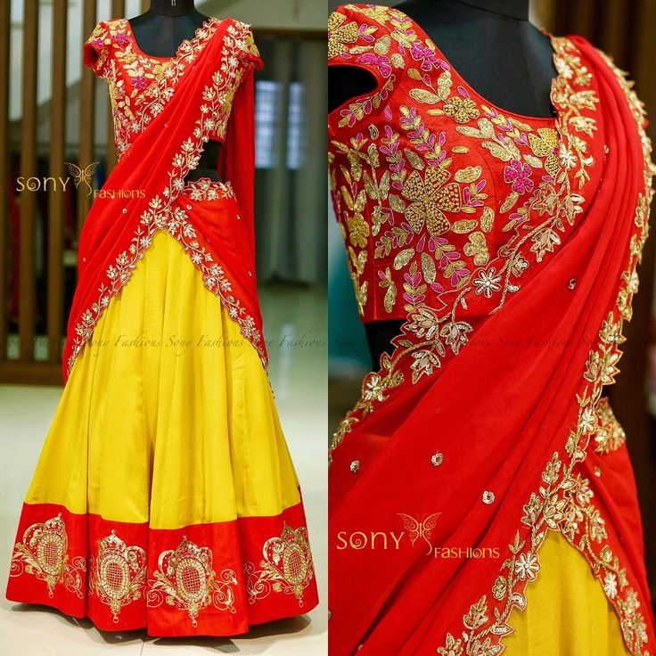 Glow Effortlessly in Sont Bright Yellow Lehenga !!!Beautiful yellow lehenga and red blouse with hand embroidery work.To place Order mail  at :-Teamsonyfashions@gmail.comcontact :- 8008100885.....  03 July 2017