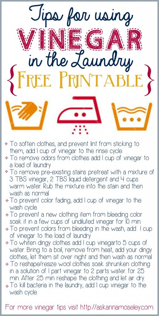 Tips for using Vinegar in the Laundry {free printable}