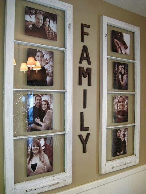 Upcycle old windows as photo frames.