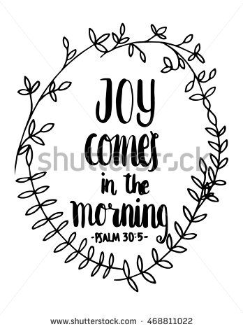 Joy Comes In The Meaning quote on White background. Hand ...