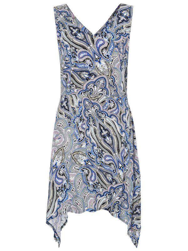 sukienka damska we wzory, w kwiaty niebieska - SSU1371 TOP SECRET