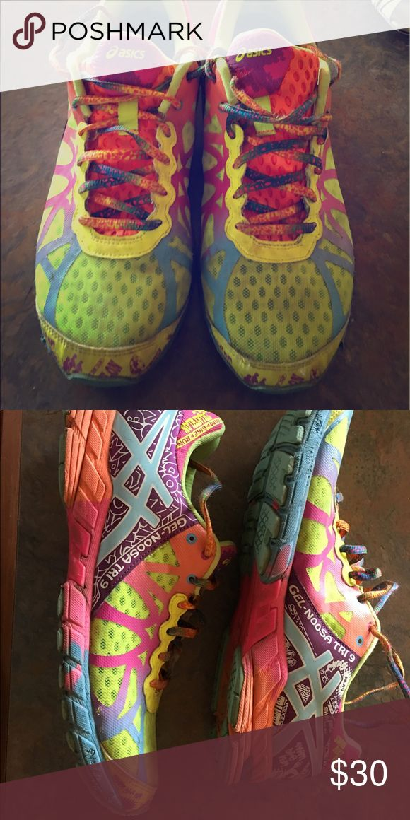 Asics Neon Running Shoe Asics neon running shoe. Gently used. Asics Shoes Athletic Shoes