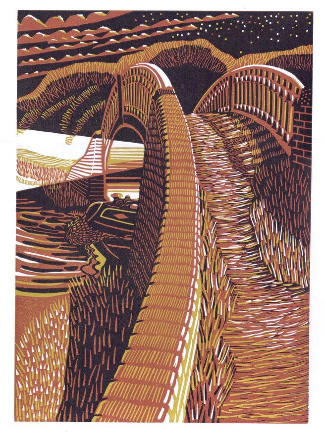 An Early Start. Reduction Linocut 2016 © Eric Gaskell 2016
