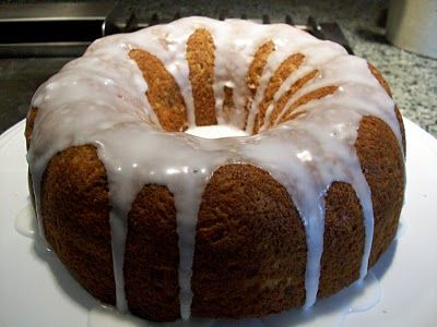Banana bread using yellow cake mix, 3 eggs 1/3 cup oil  3-5 ripe bananas, mashed 1 cup chopped pecans . You can creat a glaze with water or milk and powdered sugar which can be poured over the cake/bread when it has cooled completely. Do not pour the glaze over a warm cake or it will soak in.