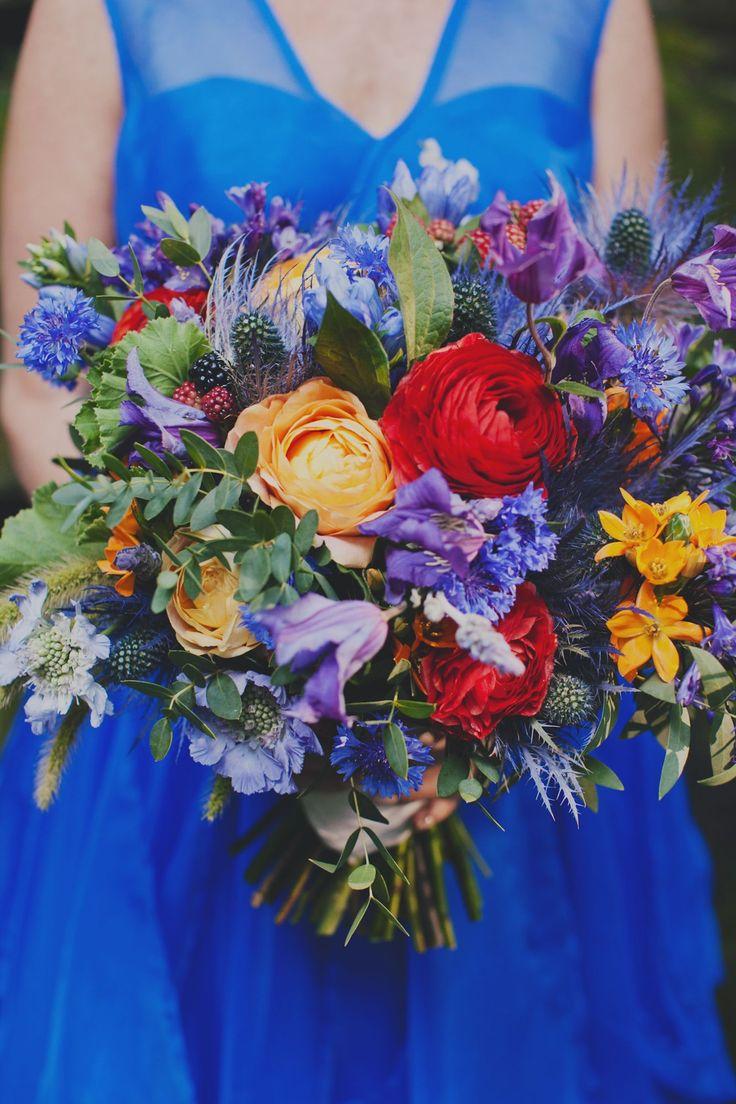Vibrant Thistle and Ranunculus Bridal Bouquet