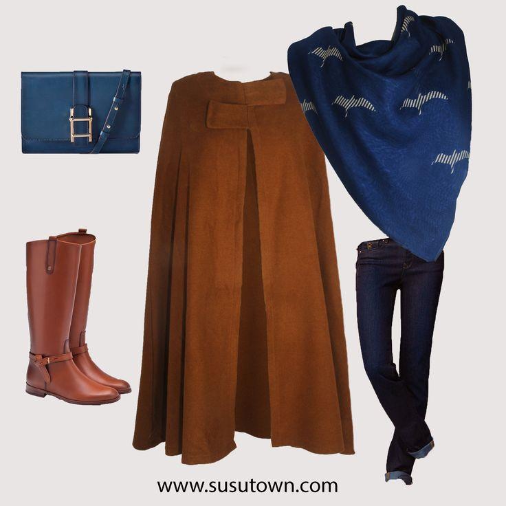 Şüşütown Kontes Panço ve Martı Şal - Shawl and Pancho hijab style www.susutown.com