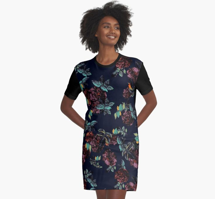 Graphic T-Shirt Dresses Roses Garden by talipmemis