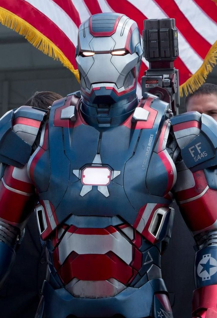 """James Rhodes played by Don Cheadle as Iron Patriot. Introduced in the 2013 film """"Iron Man 3."""""""