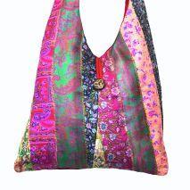 Repurposed Silk Sari Shoulder Bag. Handmade In India By Women With HIV. Purchase Here: www.LATITUDEStore.com