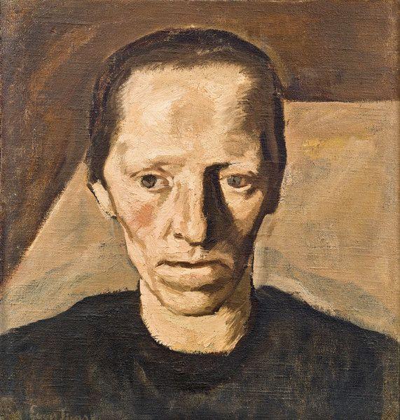 Albin Egger-Lienz – Bäuerin III (Contadina), Bild zu den Müttern, 1922/23, Öl auf Leinwand auf Karton, 48x46 cm