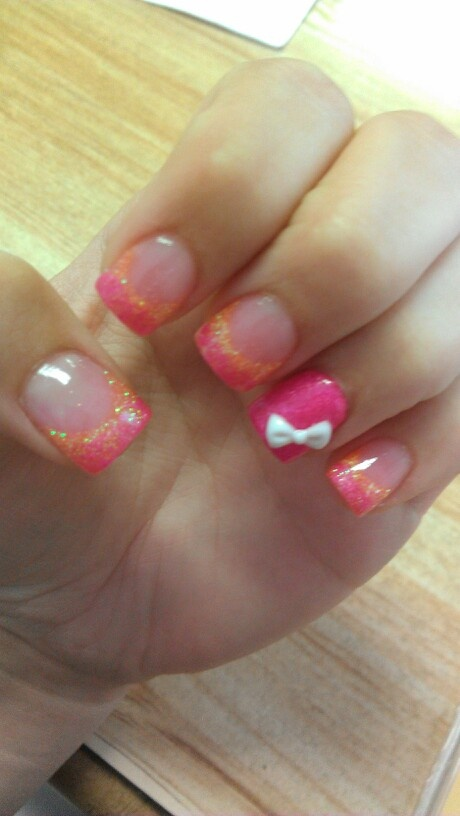 Cute pink and orange summer acrylic nails with bow.... I would like these, without the accent nail