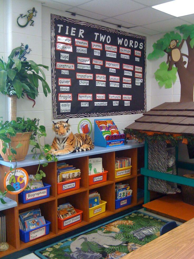jungle themed classroom!Classroom Theme, Reading Corner, Reading Center
