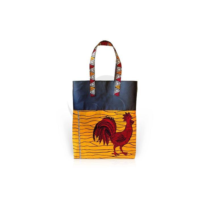 Maxi Tote Nom kup. Significa gallo en idioma fang (África Central) ~ Cecilia Wax diseña y hace artesanalmente este maxi bolso tan original, donde llevar todas tus cosas. Unidades limitadas. ~ www.sofiablack.com