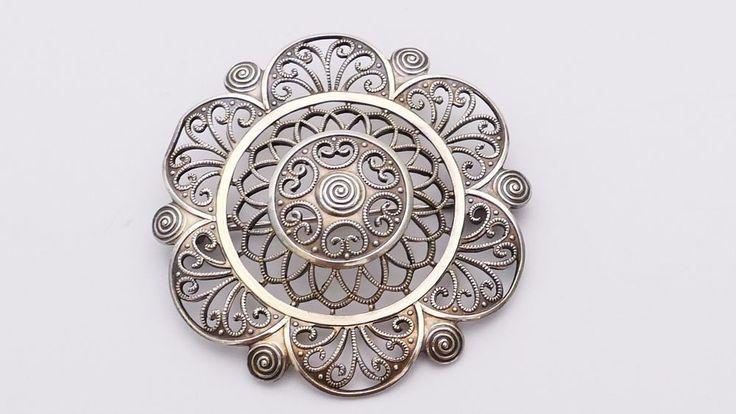 WMF Ikora Brosche Art Deco 20er Jahre Silber silver brooch pin Filigran Schmuck