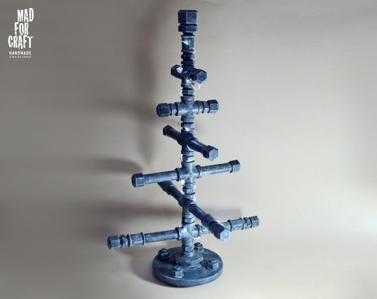 Industrial Style Metal Pipe Christmas Tree by MadForCraftGR on Etsy