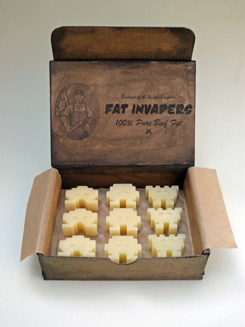 Linda Hubbard, Fat Invaders, Contemporary Sculpture, Lowbrow Propaganda, Invaders made from beef fat. Humorous yet political art